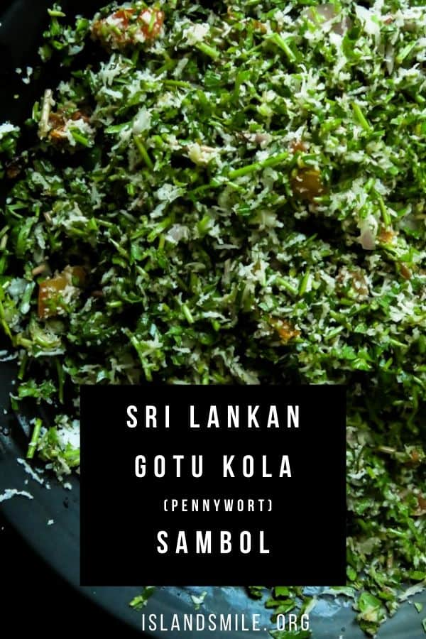 chopped gotu kola(pennywort salad) sambol mixrd with freshly scraped coconut.