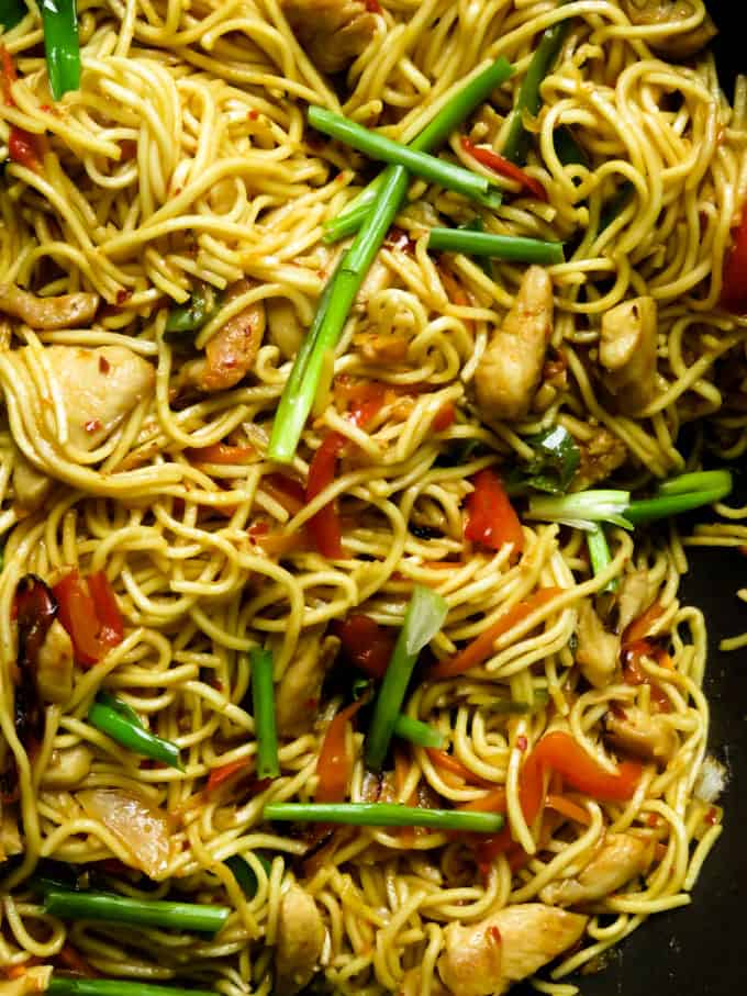 chicken lo mein noodles. recipe at islandsmile.org