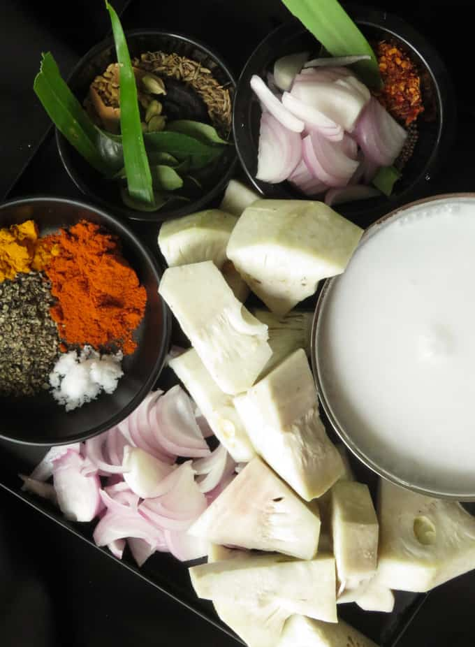 Ingredients for Jackfruit curry.