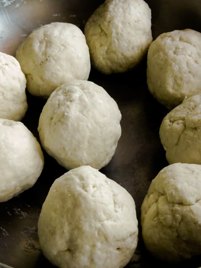kneaded dough balls to make the coconut roti.