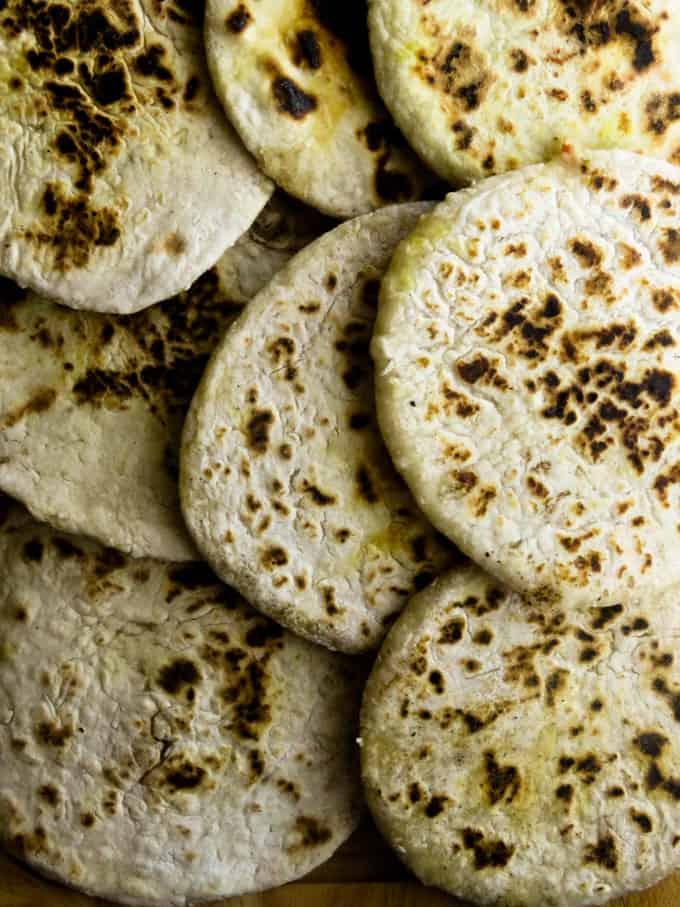 Sri Lankan stuffed pol roti for breakfast.