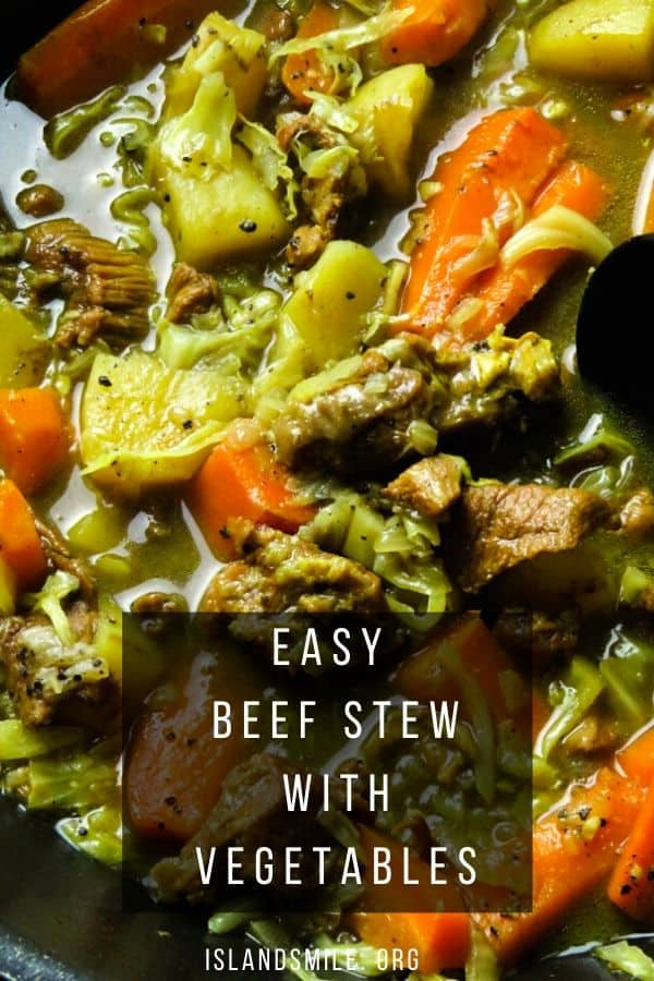 Homemade beef stew with cabbage and vegetables. Beef, Pepper, root vegetables and cabbage are the main ingredients, adding flavor to this hearty beef stew. Slow-cooked over a stovetop for a few hours and you have a healthy stew for a meal.