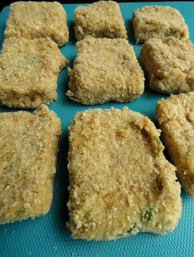 breaded chicken nuggets.