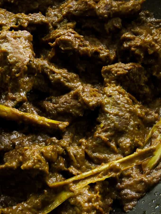 slow cooked coconut milk rendang curry