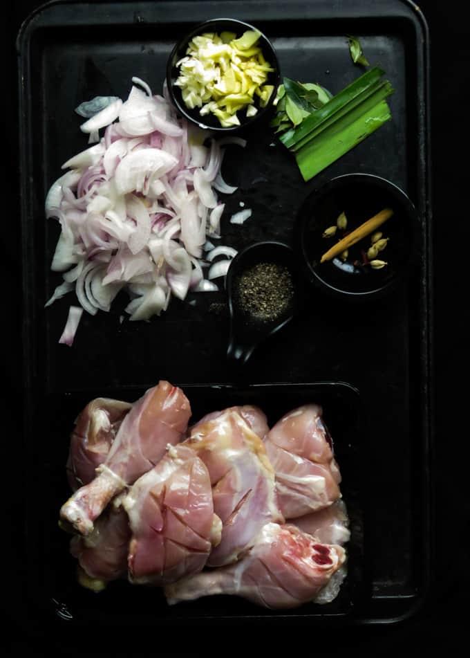 ingredients for the vinegar chicken.