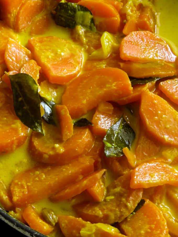 sliced carrot in coconut milk image.
