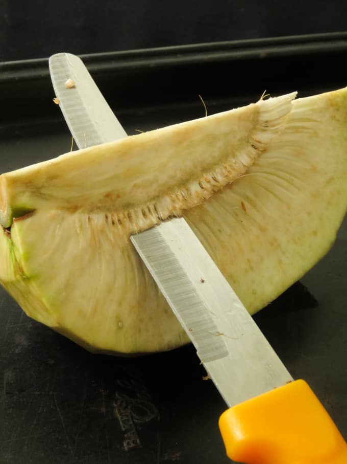 how to cut the core of a breadfruit.