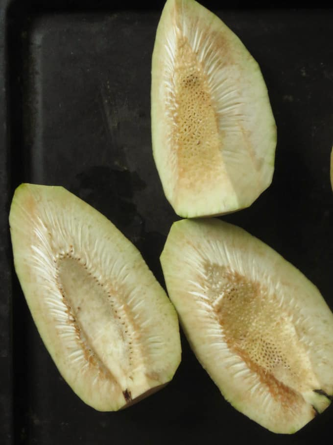 slices of breadfruit ready to cook.