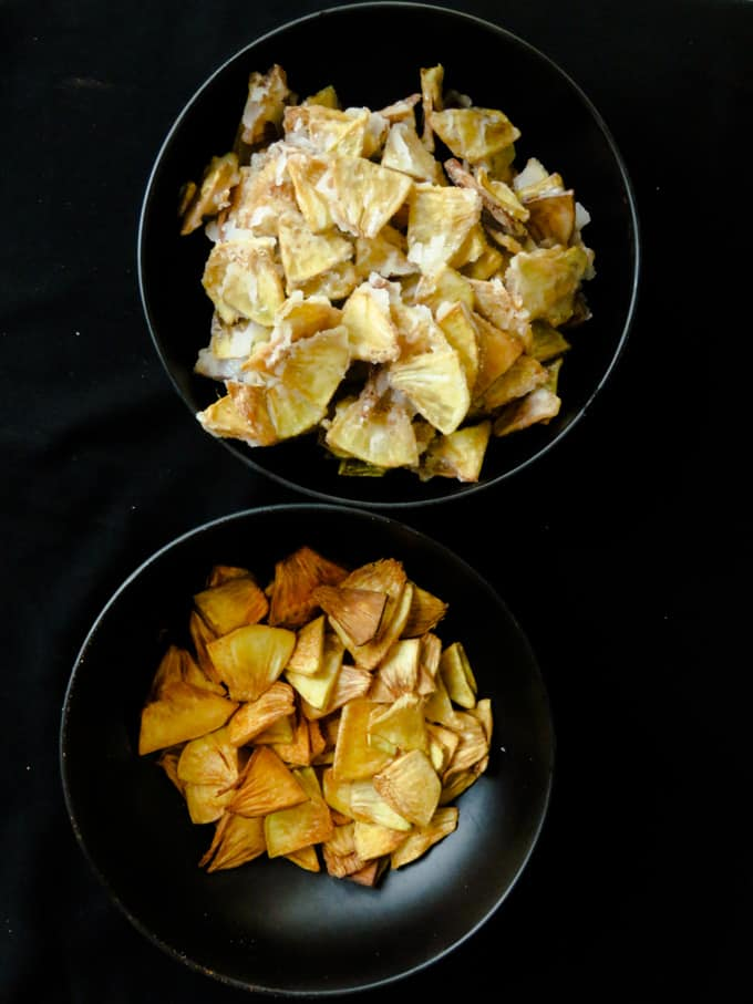 bowls of fried breadfruit chips sweet and spicy versions