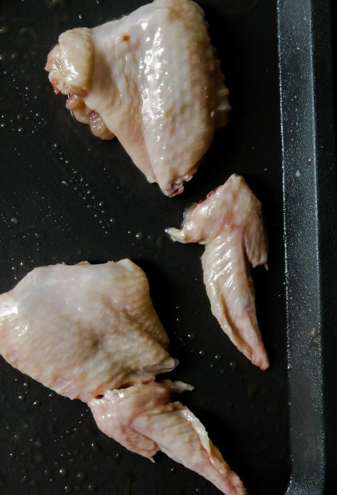 how to cut the wing tips from the chicken wing.