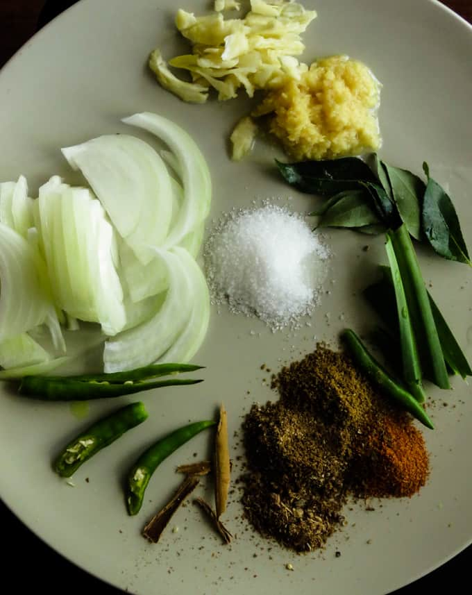 ingredients for sweet and sour eggplant curry.