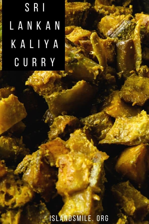 kaliya -a traditional Sri Lankan curry made with deep-fried ash plantains(green plantains), eggplant and potatoes and then cooked in a spiced coconut milk gravy until you have this amazing yet earthy vegetarian dish.