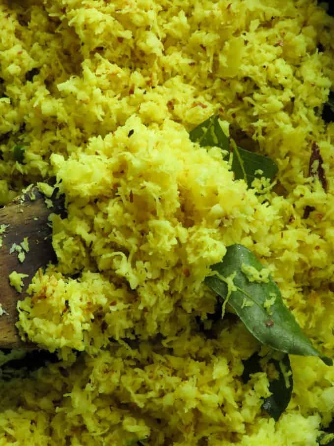 yellow coconut sambol(Sri Lankan pol mallum).