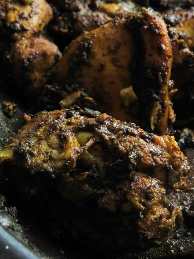 black pepper dry chicken curry also known as chicken ambulthiyal