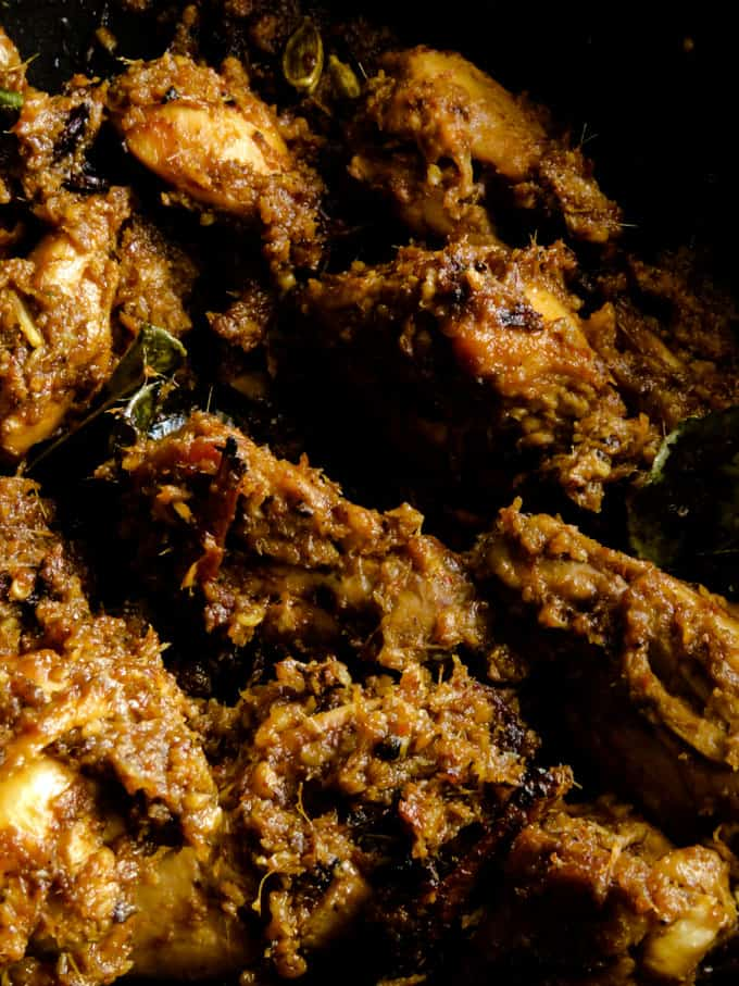 crispy Malaysian chicken rendang made with various parts of chicken.