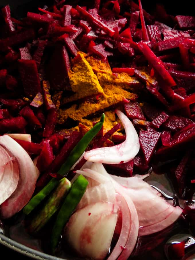 beetroot with the cooking ingredients.