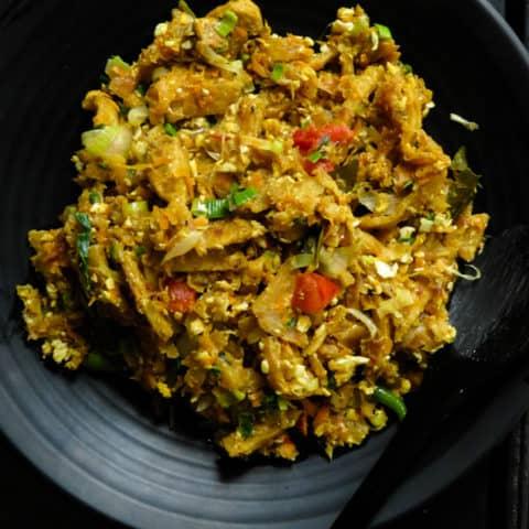 Sri Lankan chicken kottu in a plate.