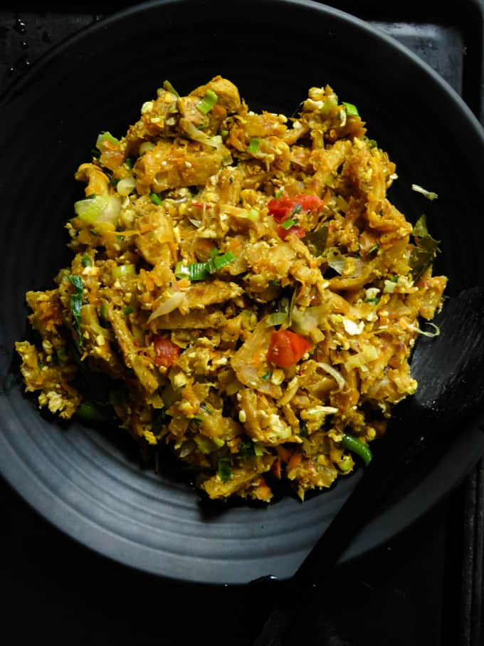 Sri Lankan chicken kottu in a plate.