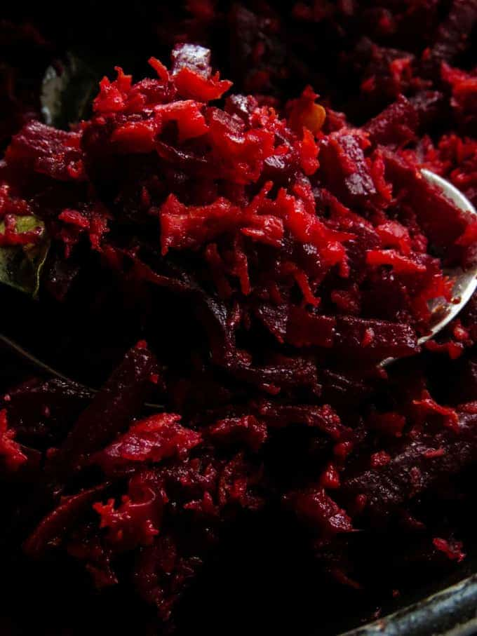 coconut and beetroot mallung(stir-fry).