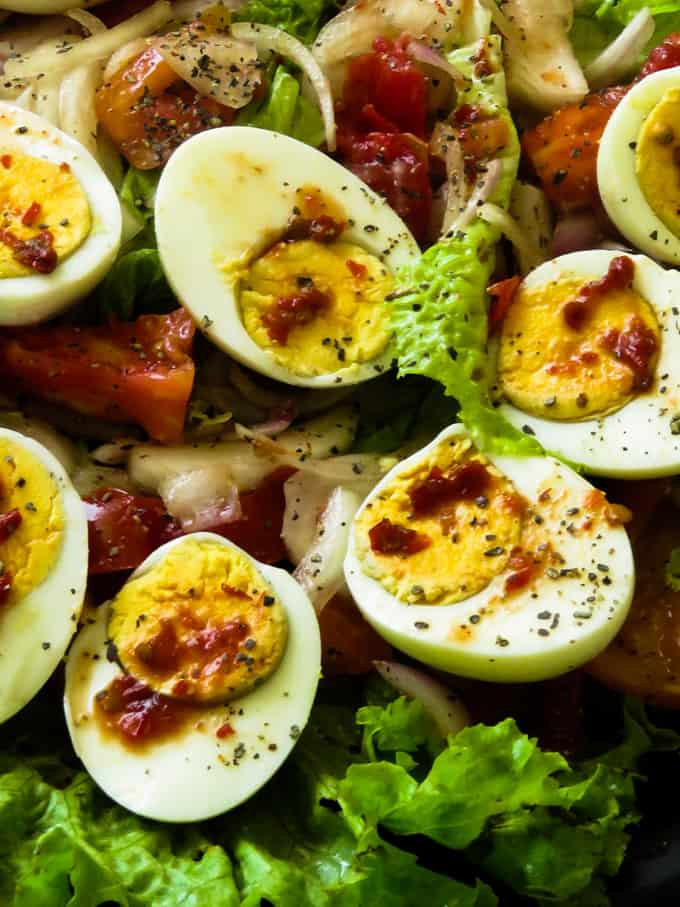 Sri Lankan boiled egg salad recipe.