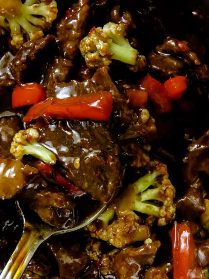 beef teriyaki in a pan
