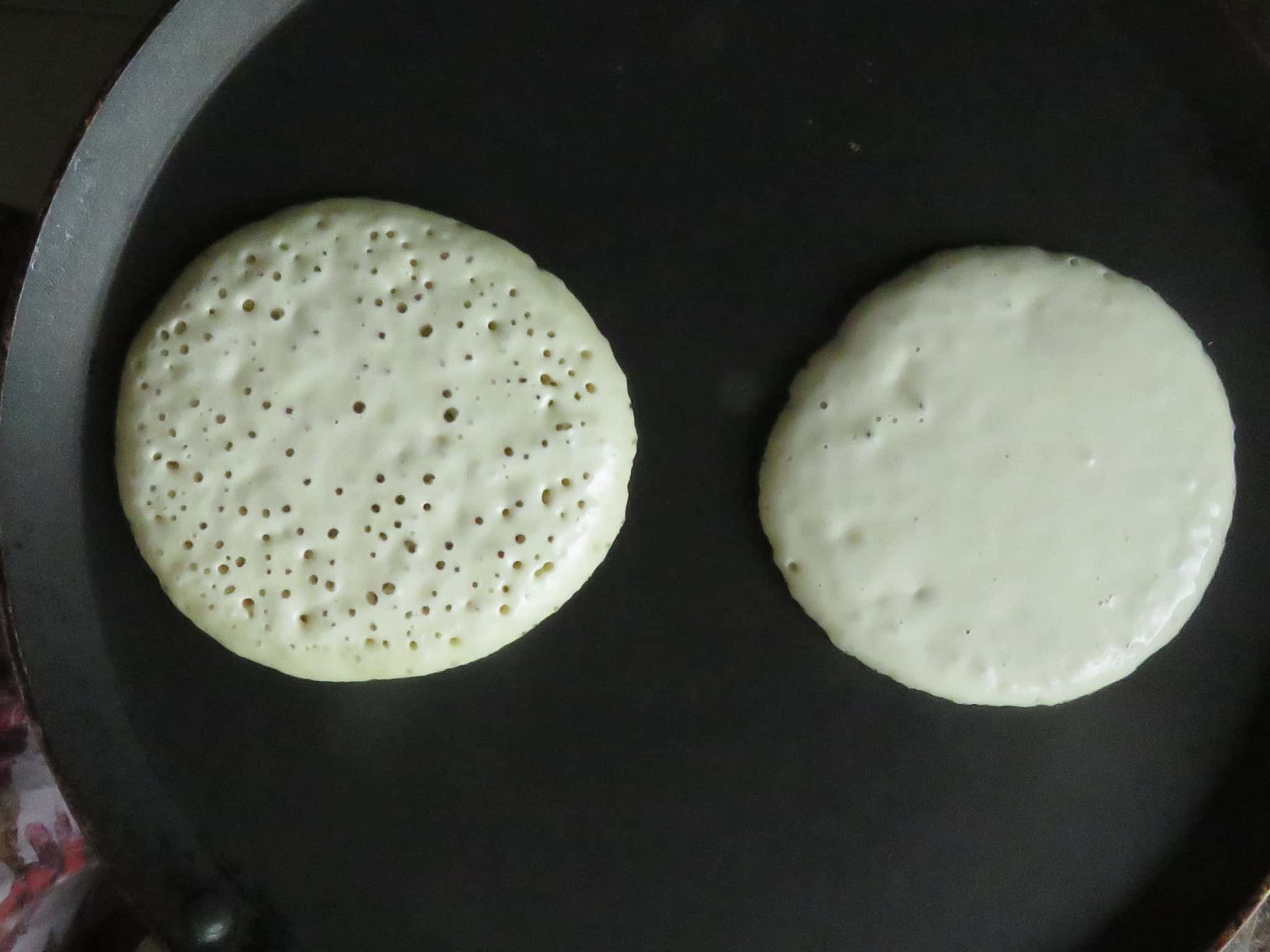 pic shows how to make two pancakes at the same time.