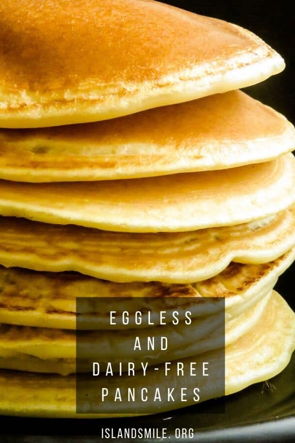 how to make pancakes without milk, eggs or baking powder. you will love these dairy free and egg-free pancakes that are soft and fluffy.