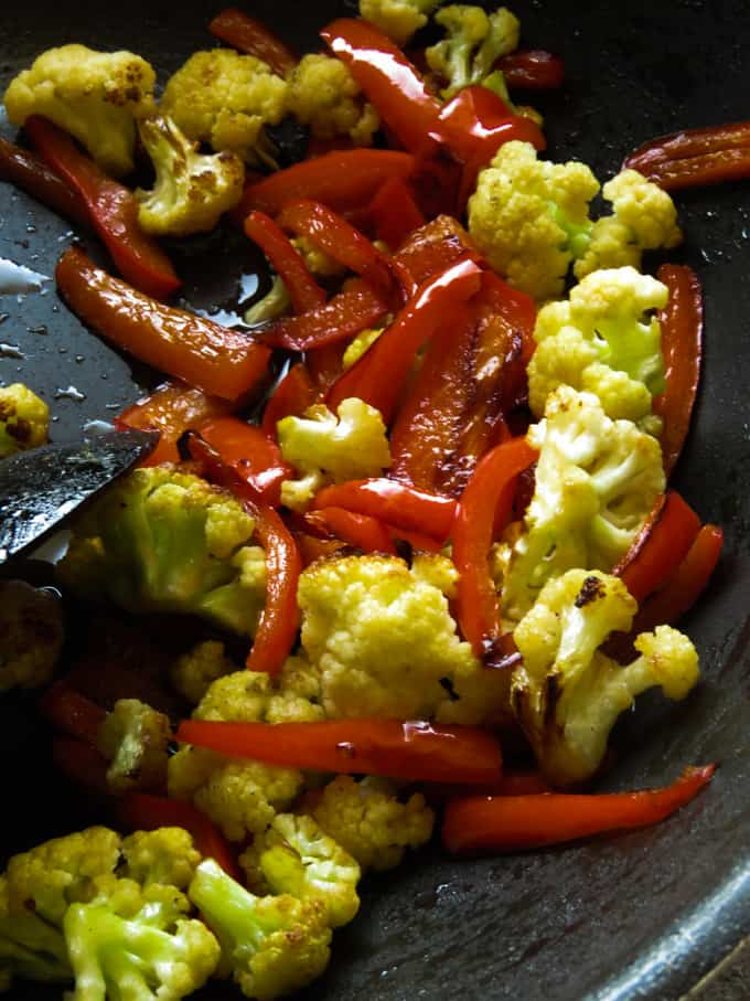 stir-fried cauliflower and bell pepper for beef teriyaki.