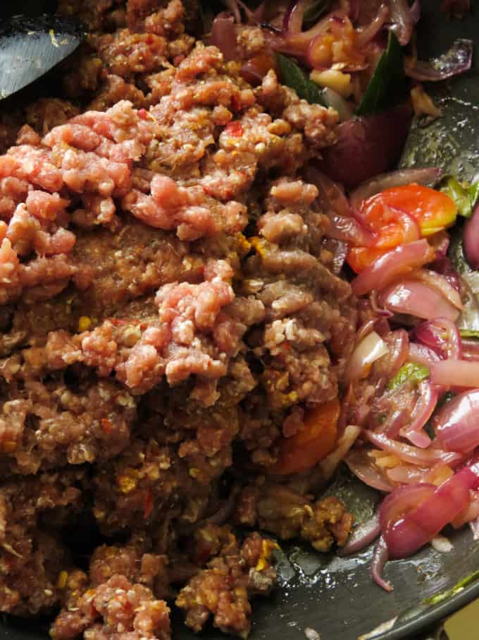 marinated minced beef and tempered onions to make sloppy joes.