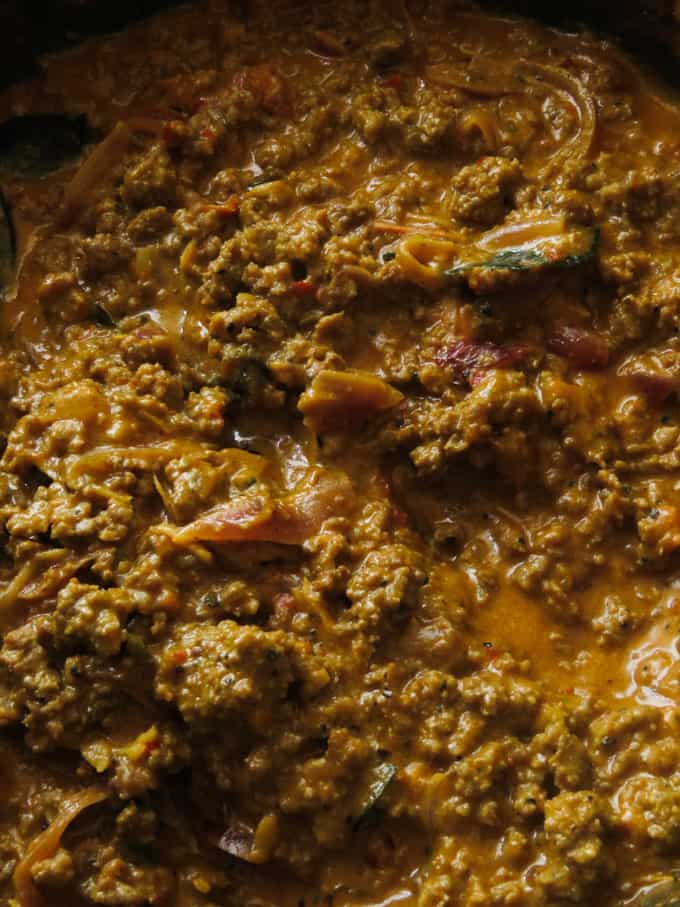 curry spiced, sloppy joe meat sauce in a pot.