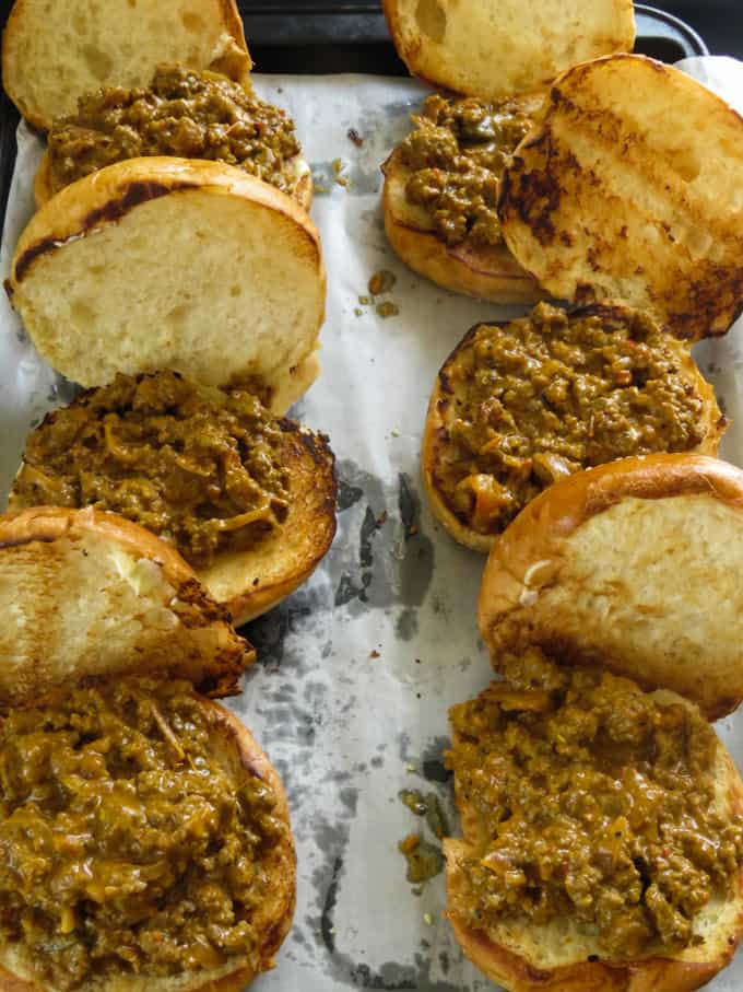 buns filled with sloppy joe meat sauce.