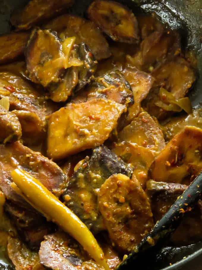 Ash plantain spicy curry