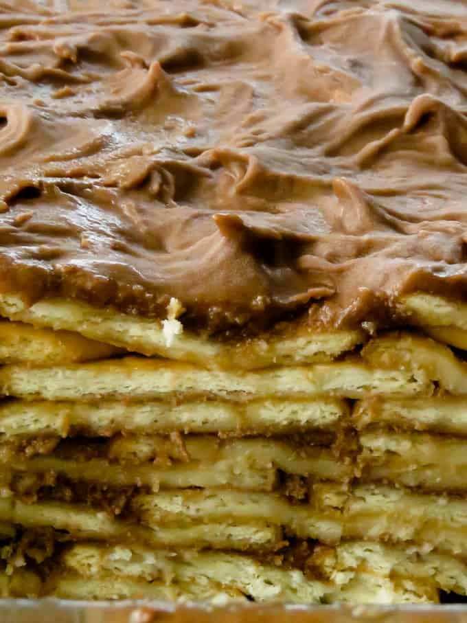 chilled marie buiscuit pudding, showing the layers of buiscuit inside.