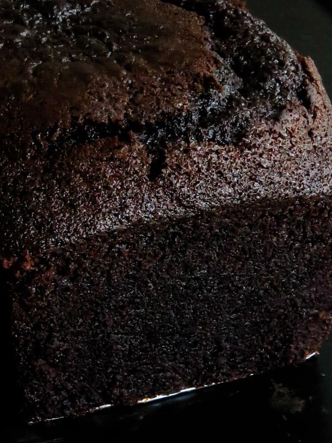 chocolate pound cake removed from the oven.