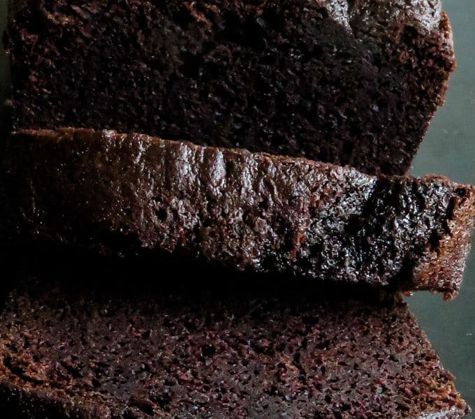 chocolate loaf cake cut into slices.