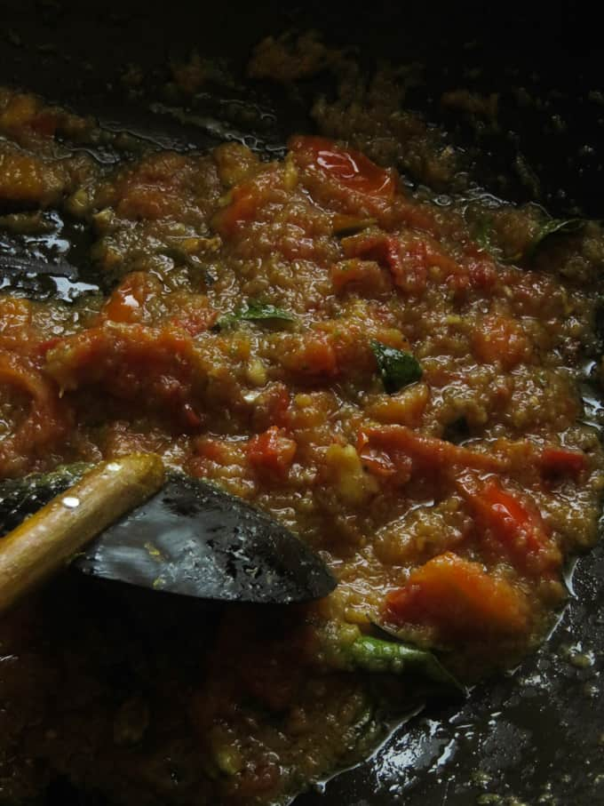 cooking the spice paste down and how it looks once done.