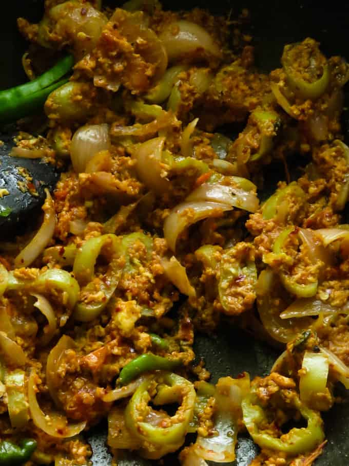 spicy dolphin kottu mixture made in the wok.
