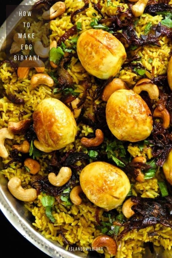 egg biryani, a traditional Indian rice dish that can be served to a large crowd.