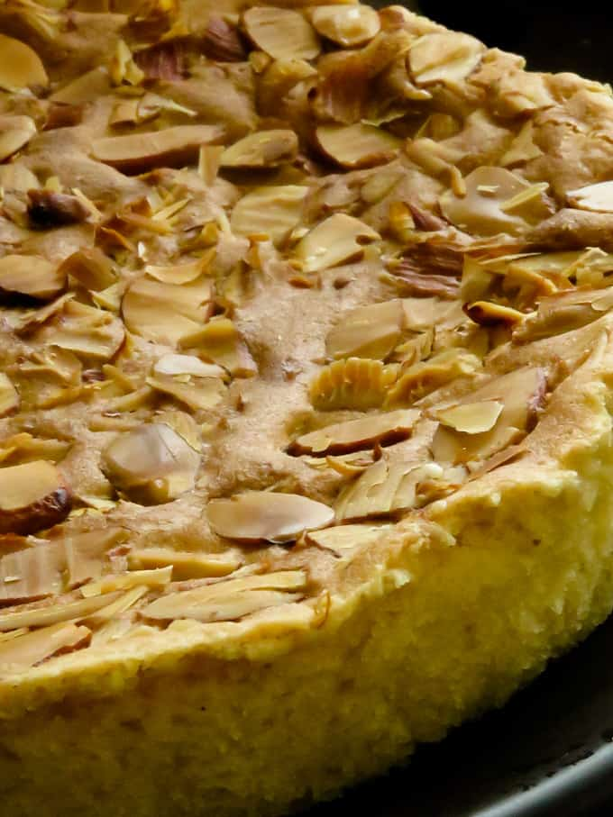 close up of an almond butter cake.