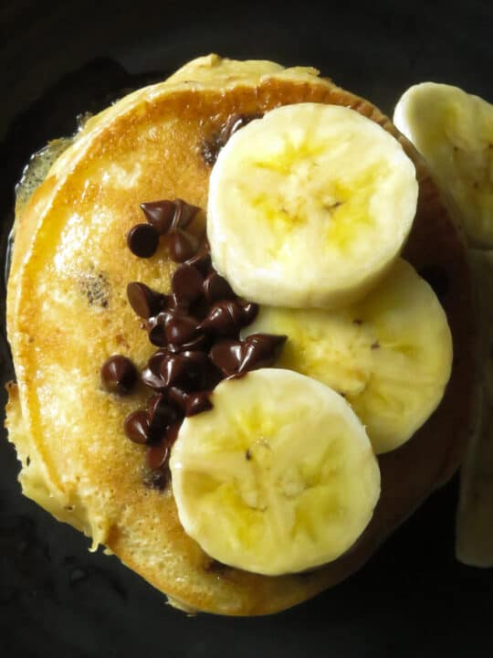 Banana chocolate chip pancakes made in a blender.