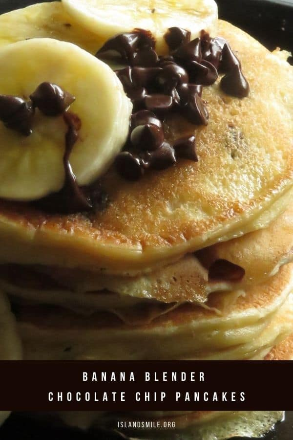 Fluffy soft pancakes dotted with loads of chocolate chips and blended banana makes these filling breakfast pancakes a special weekend treat for your family.