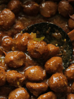 a spoon of chicken meatball curry