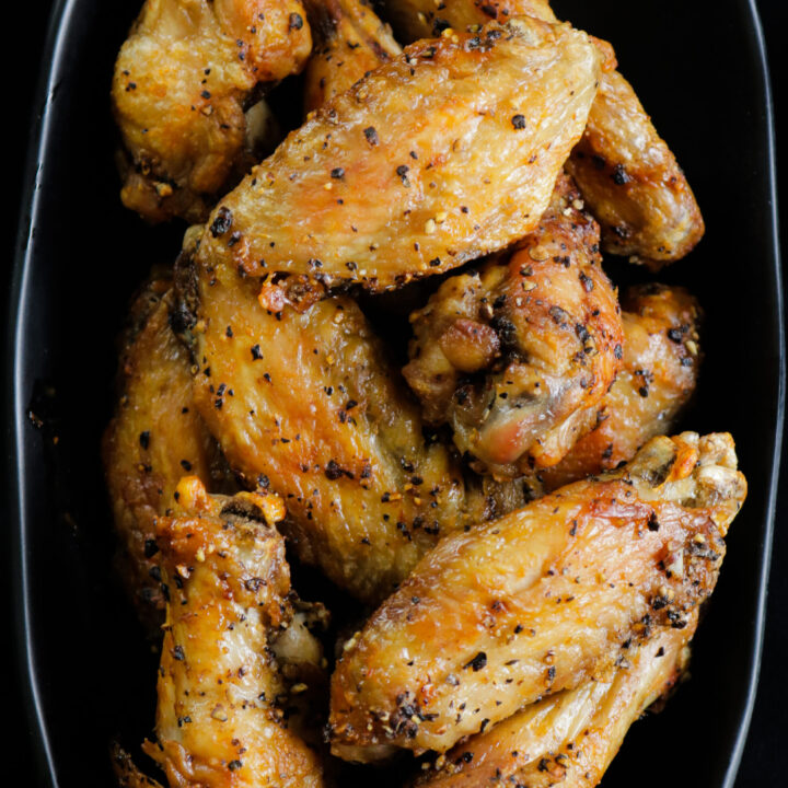 air fried chicken wings pon a platter