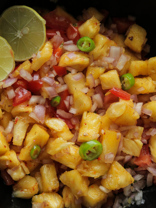 pineapple salsa served in a bowl