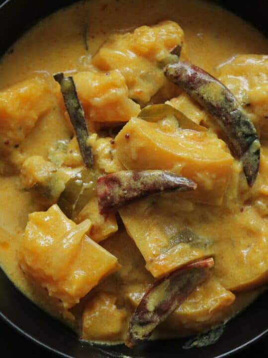 creamy butternut squash cooked and served in a bowl
