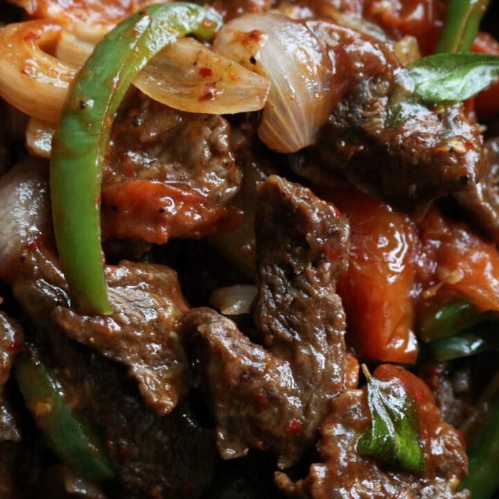 Sri Lankan spicy devilled beef stir-fry.